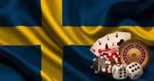 Svensk flagga med spelkort, spelmarker, rouletthjul och tärningar